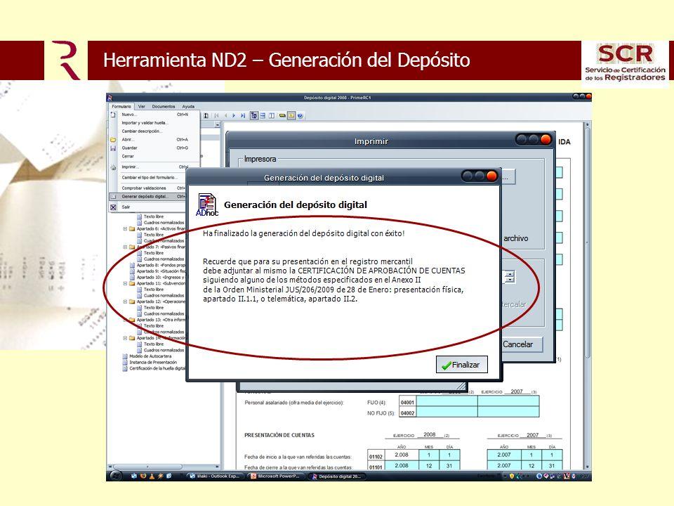 Herramienta ND2 – Generación del Depósito