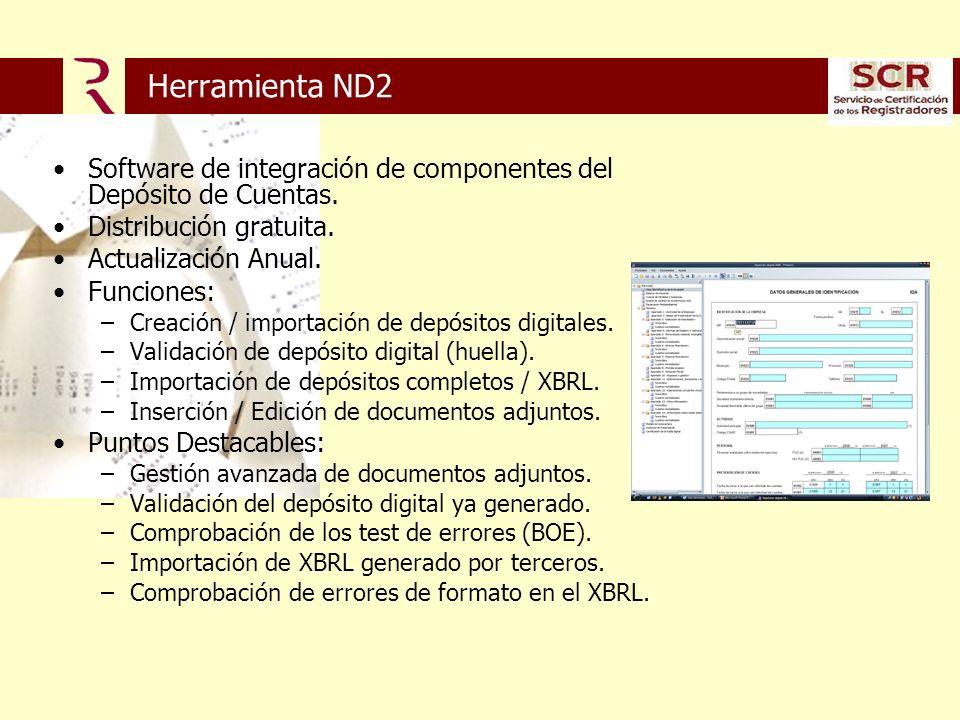 Herramienta ND2 Software de integración de componentes del Depósito de Cuentas.
