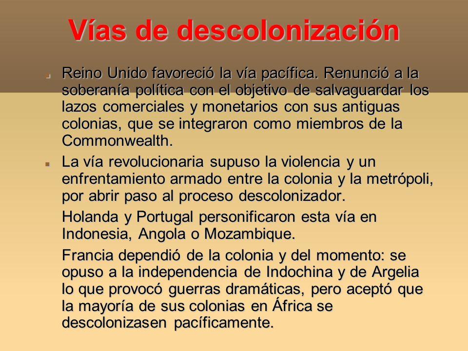 Vías de descolonización Reino Unido favoreció la vía pacífica. Renunció a la soberanía política con el objetivo de salvaguardar los lazos comerciales