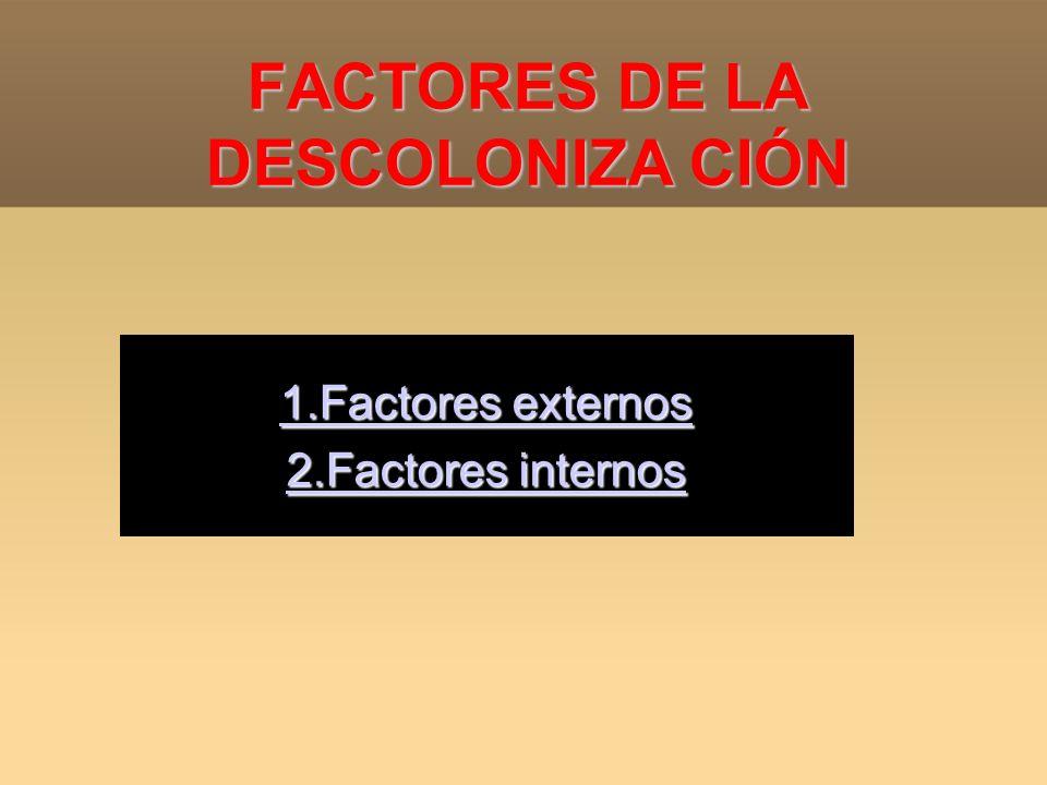 FACTORES DE LA DESCOLONIZA CIÓN 1.Factores externos 1.Factores externos 2.Factores internos 2.Factores internos