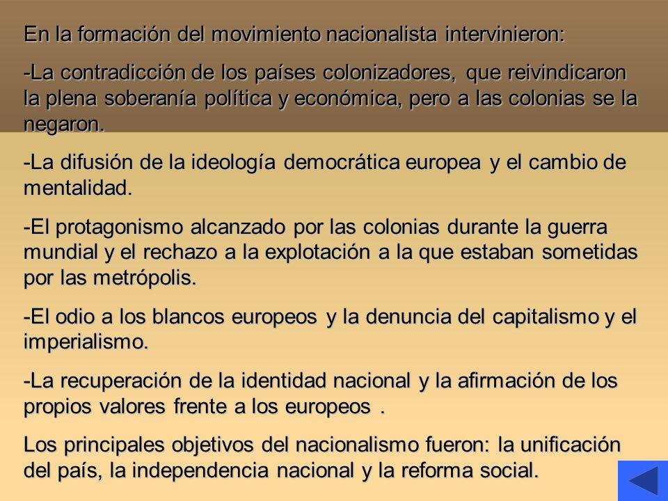 En la formación del movimiento nacionalista intervinieron: -La contradicción de los países colonizadores, que reivindicaron la plena soberanía polític