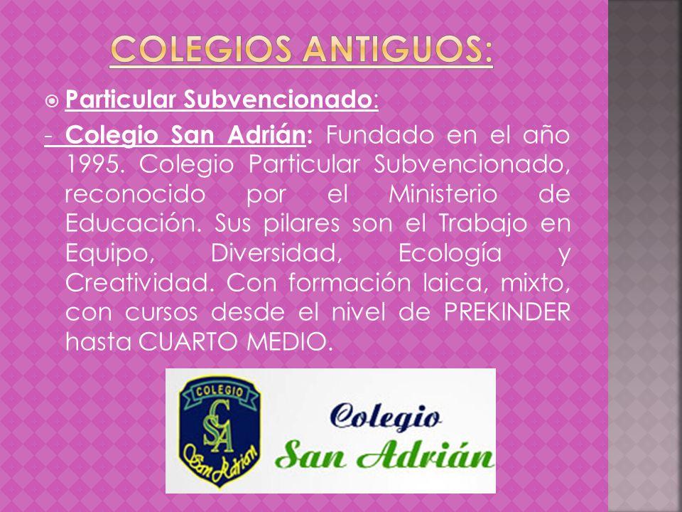 Particular Subvencionado : - Colegio San Adrián: Fundado en el año 1995. Colegio Particular Subvencionado, reconocido por el Ministerio de Educación.