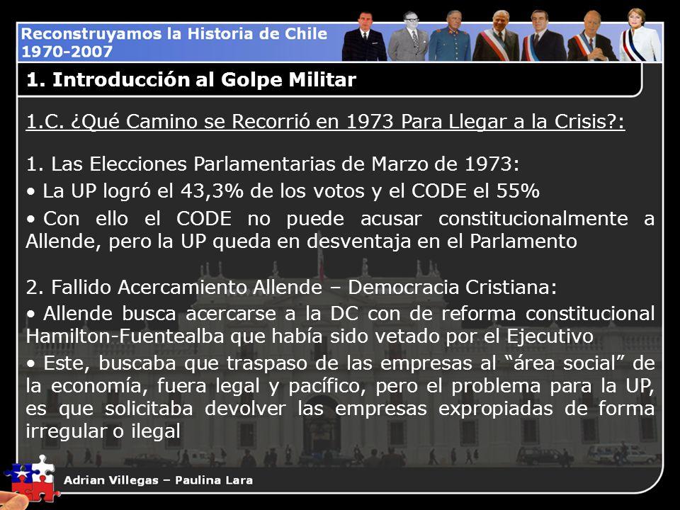 1. Introducción al Golpe Militar 1.C. ¿Qué Camino se Recorrió en 1973 Para Llegar a la Crisis?: 1. Las Elecciones Parlamentarias de Marzo de 1973: La