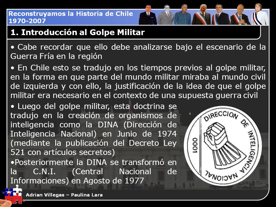 1. Introducción al Golpe Militar Cabe recordar que ello debe analizarse bajo el escenario de la Guerra Fría en la región En Chile esto se tradujo en l