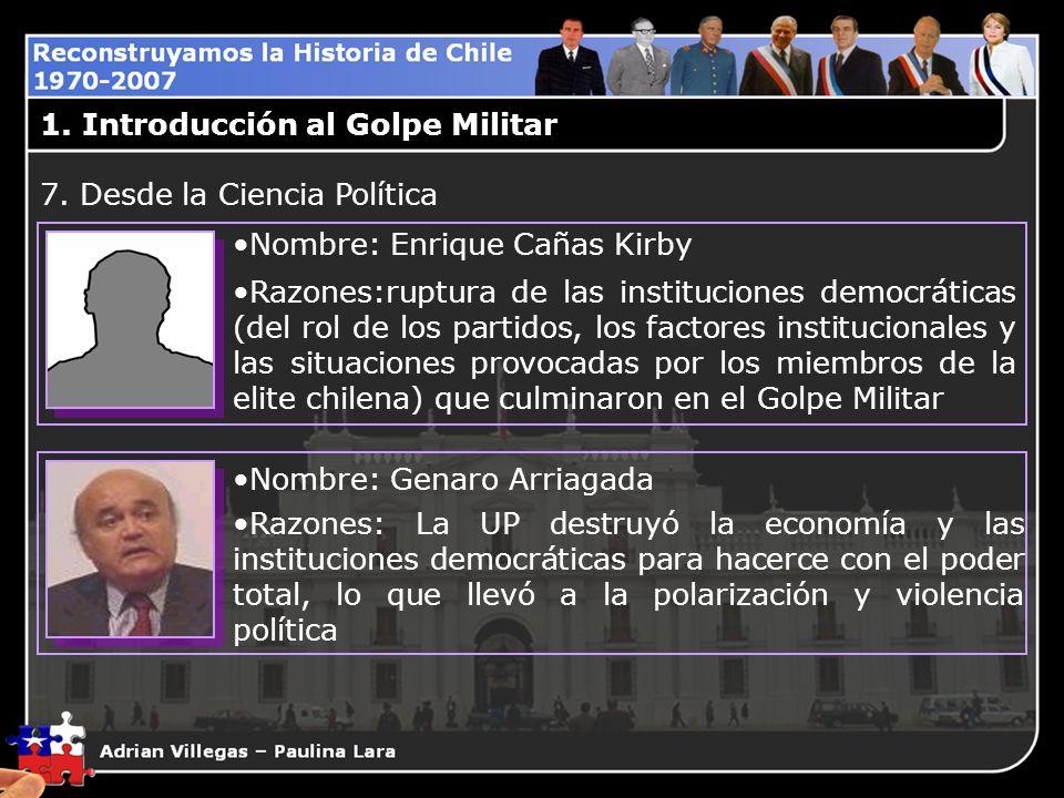 1. Introducción al Golpe Militar Nombre: Enrique Cañas Kirby Razones:ruptura de las instituciones democráticas (del rol de los partidos, los factores