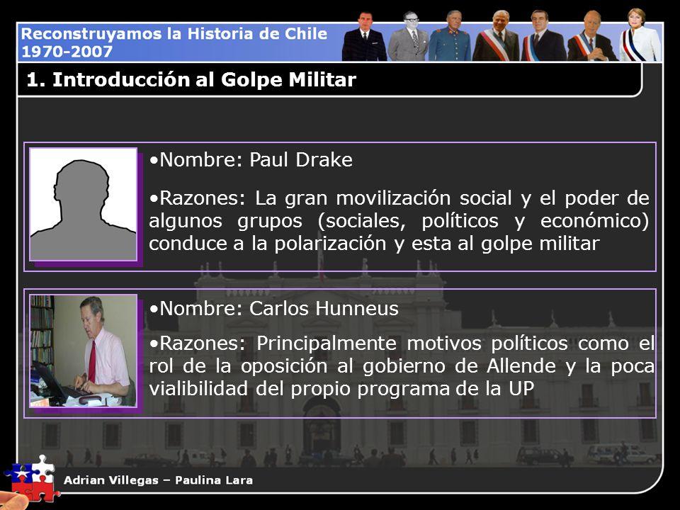 1. Introducción al Golpe Militar Nombre: Paul Drake Razones: La gran movilización social y el poder de algunos grupos (sociales, políticos y económico