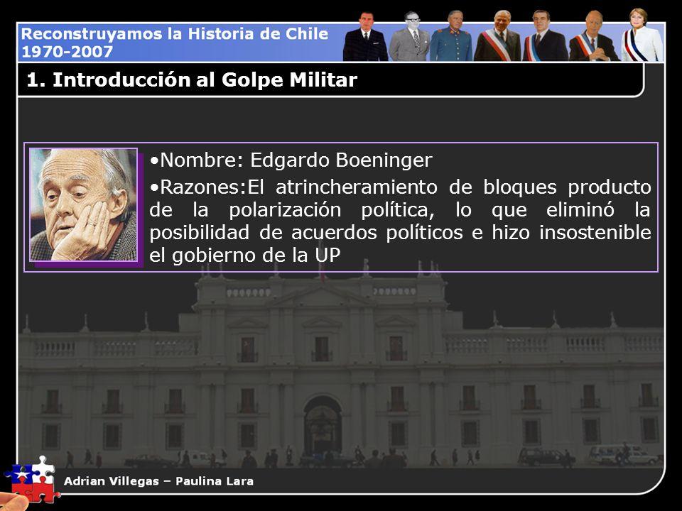 1. Introducción al Golpe Militar Nombre: Edgardo Boeninger Razones:El atrincheramiento de bloques producto de la polarización política, lo que eliminó