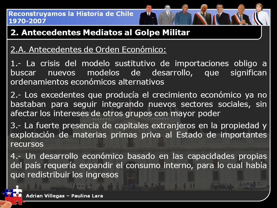 2.A. Antecedentes de Orden Económico: 1.- La crisis del modelo sustitutivo de importaciones obligo a buscar nuevos modelos de desarrollo, que signific