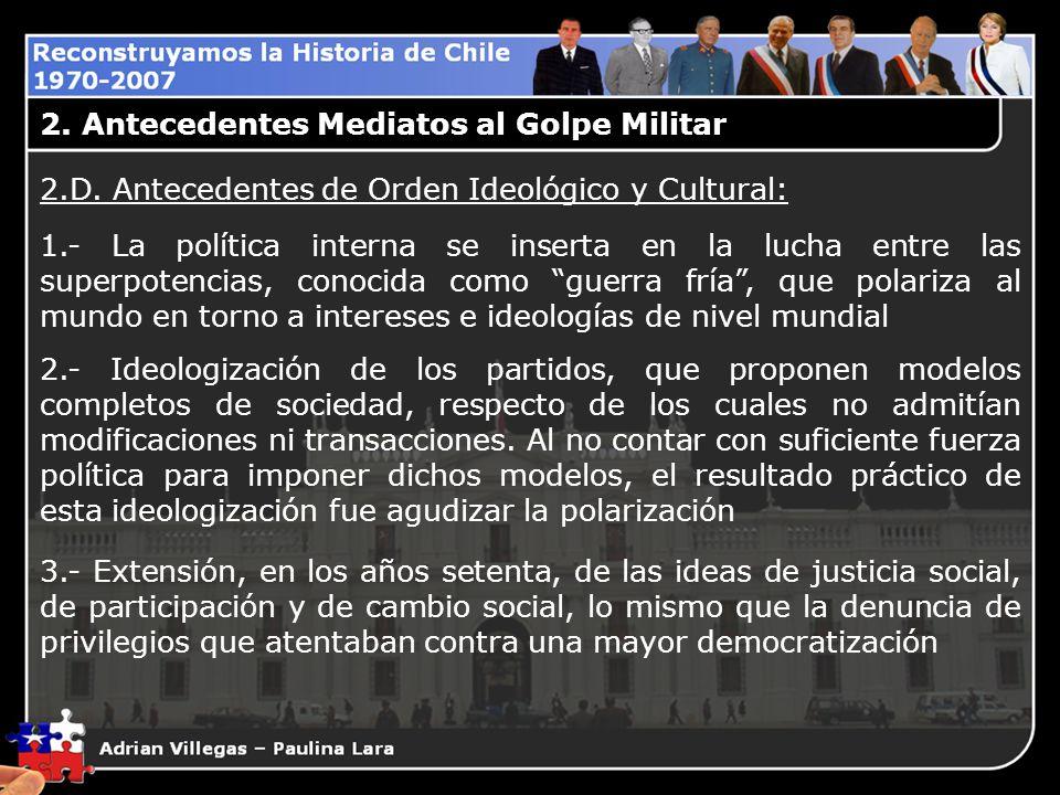 2. Antecedentes Mediatos al Golpe Militar 2.D. Antecedentes de Orden Ideológico y Cultural: 1.- La política interna se inserta en la lucha entre las s