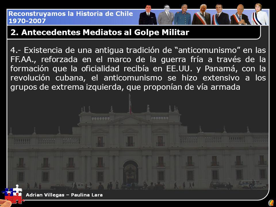 2. Antecedentes Mediatos al Golpe Militar 4.- Existencia de una antigua tradición de anticomunismo en las FF.AA., reforzada en el marco de la guerra f