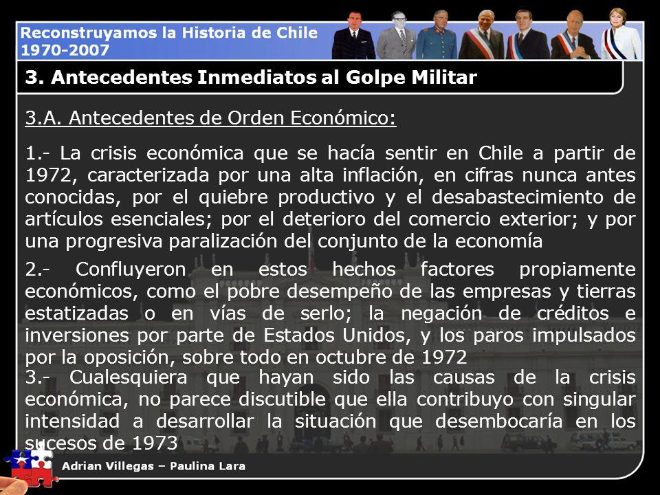 3.A. Antecedentes de Orden Económico: 1.- La crisis económica que se hacía sentir en Chile a partir de 1972, caracterizada por una alta inflación, en