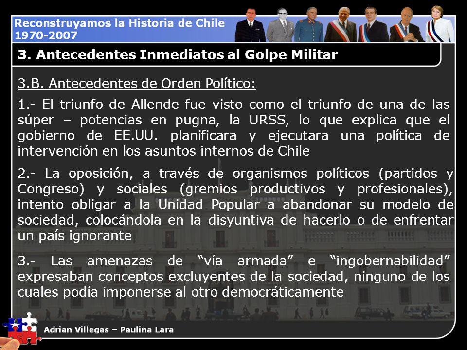 3. Antecedentes Inmediatos al Golpe Militar 3.B. Antecedentes de Orden Político: 1.- El triunfo de Allende fue visto como el triunfo de una de las súp