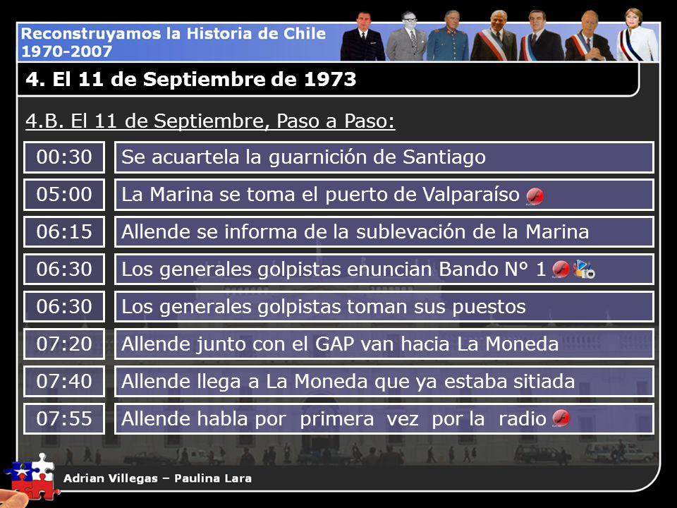 4. El 11 de Septiembre de 1973 4.B. El 11 de Septiembre, Paso a Paso: 00:30Se acuartela la guarnición de Santiago 05:00La Marina se toma el puerto de