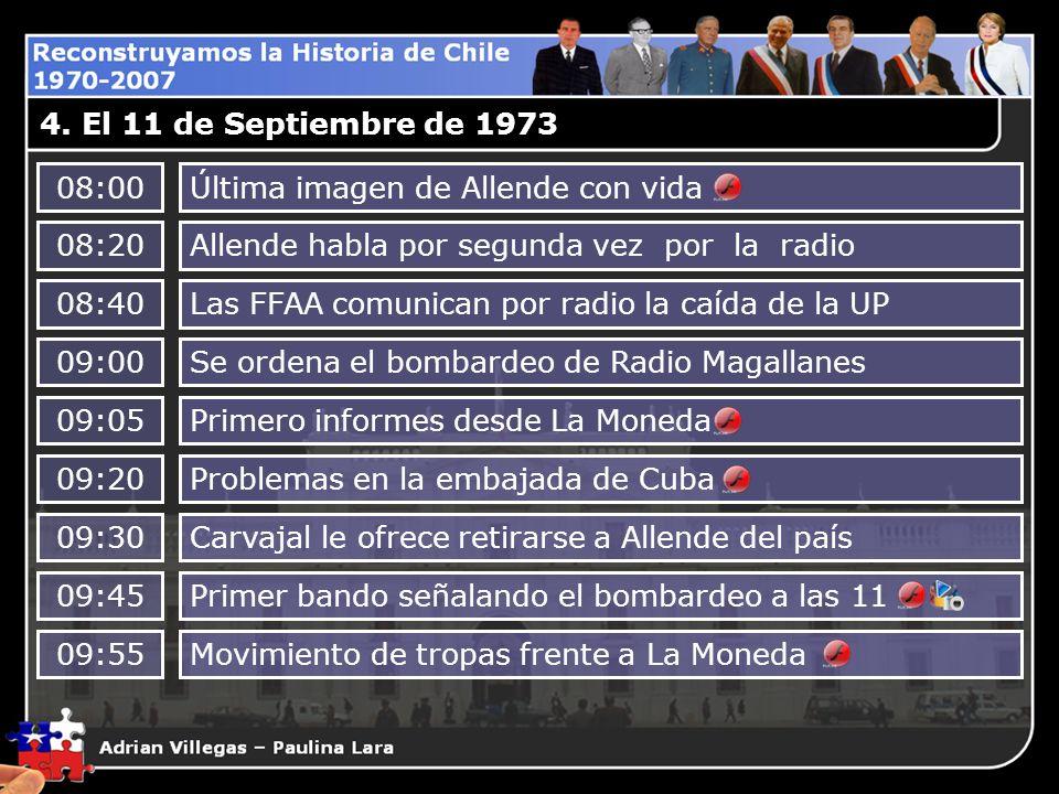 4. El 11 de Septiembre de 1973 08:00Última imagen de Allende con vida 08:20Allende habla por segunda vez por la radio 08:40Las FFAA comunican por radi