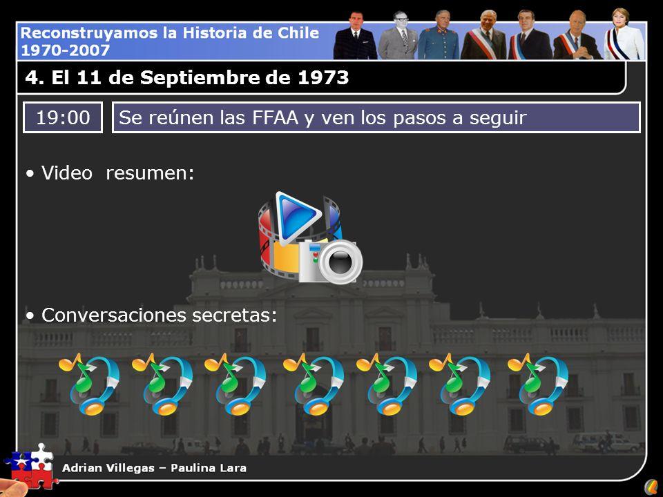 4. El 11 de Septiembre de 1973 19:00Se reúnen las FFAA y ven los pasos a seguir Video resumen: Conversaciones secretas: