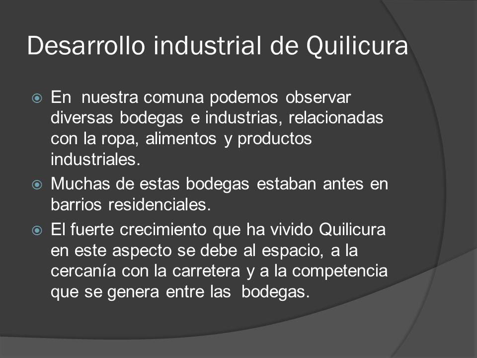 En nuestra comuna podemos observar diversas bodegas e industrias, relacionadas con la ropa, alimentos y productos industriales. Muchas de estas bodega