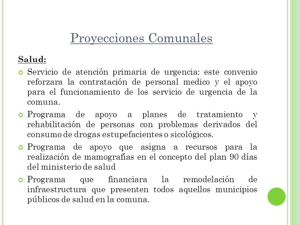 Proyecciones Comunales Salud: Servicio de atención primaria de urgencia: este convenio reforzara la contratación de personal medico y el apoyo para el