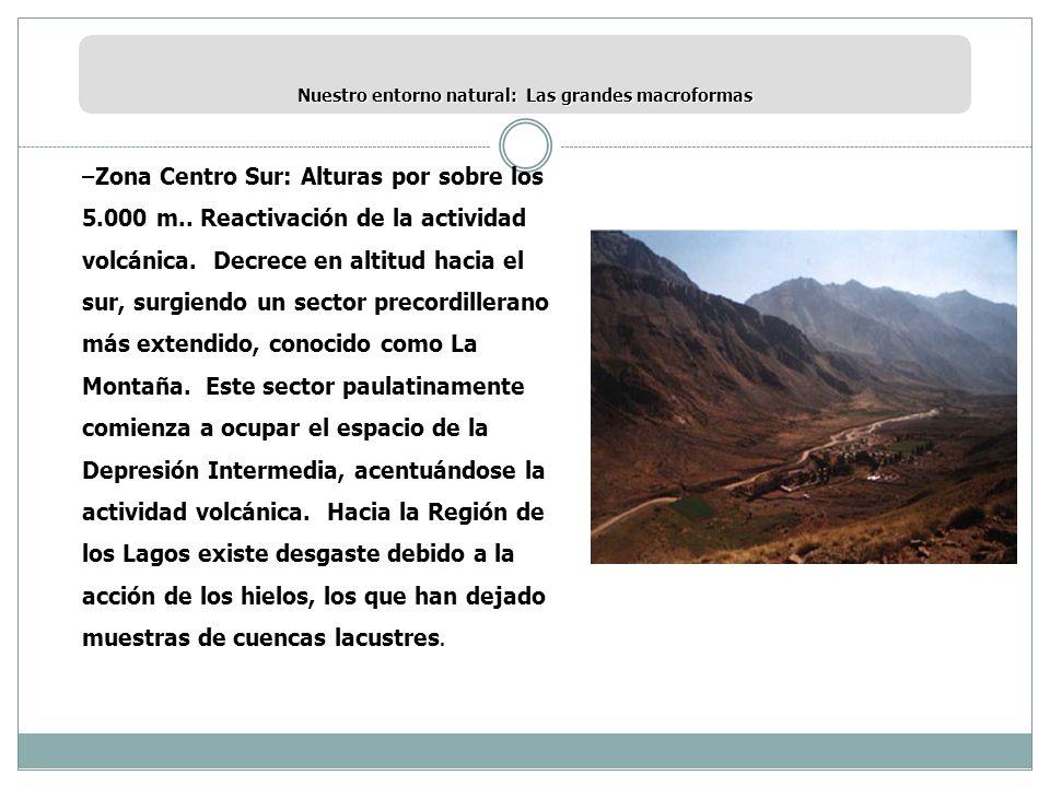 Nuestro entorno natural: Las grandes macroformas –Zona Centro Sur: Alturas por sobre los 5.000 m.. Reactivación de la actividad volcánica. Decrece en