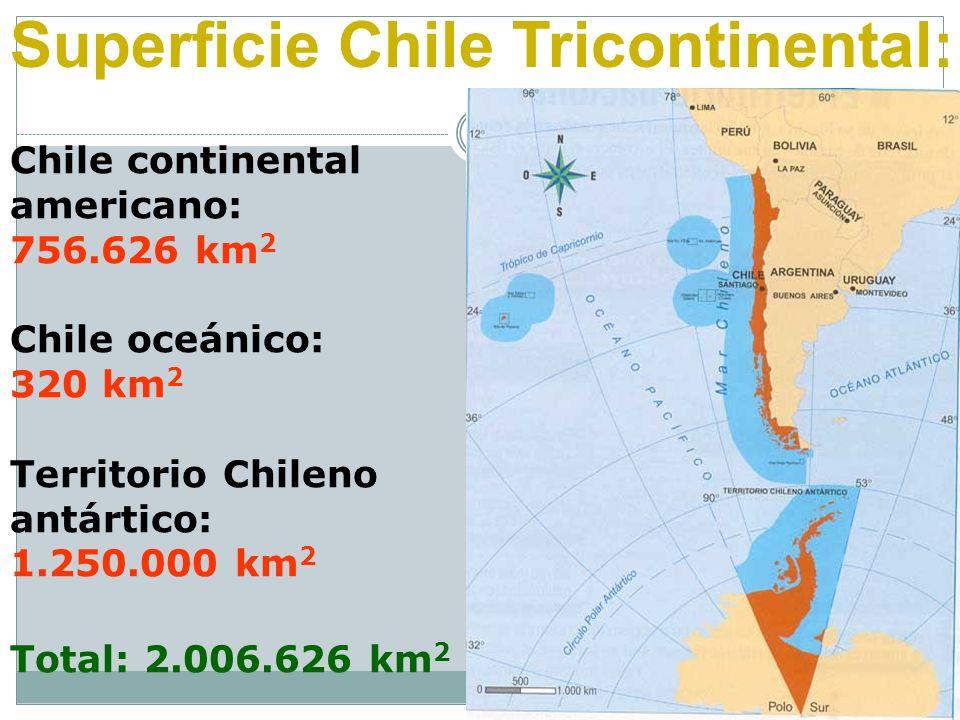 Chile continental americano: 756.626 km 2 Chile oceánico: 320 km 2 Territorio Chileno antártico: 1.250.000 km 2 Total: 2.006.626 km 2 Superficie Chile
