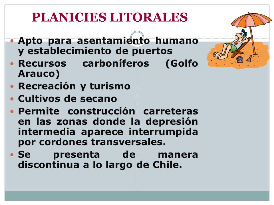 PLANICIES LITORALES Apto para asentamiento humano y establecimiento de puertos Recursos carboníferos (Golfo Arauco) Recreación y turismo Cultivos de s