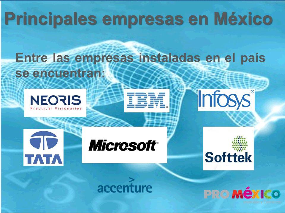 Principales empresas en México Entre las empresas instaladas en el país se encuentran: