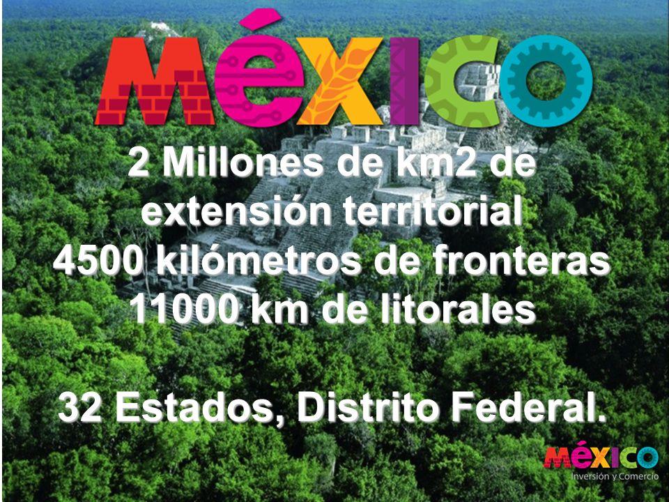 2 Millones de km2 de extensión territorial 4500 kilómetros de fronteras 11000 km de litorales 32 Estados, Distrito Federal.