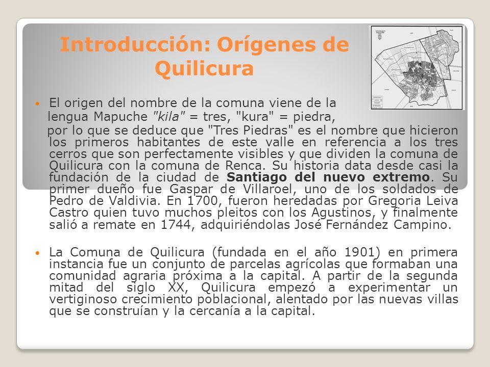Introducción: Orígenes de Quilicura El origen del nombre de la comuna viene de la lengua Mapuche
