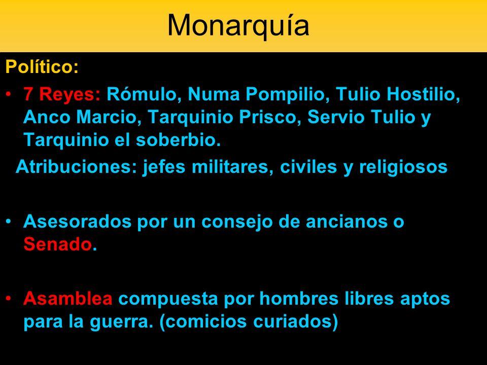 Monarquía Político: 7 Reyes: Rómulo, Numa Pompilio, Tulio Hostilio, Anco Marcio, Tarquinio Prisco, Servio Tulio y Tarquinio el soberbio. Atribuciones:
