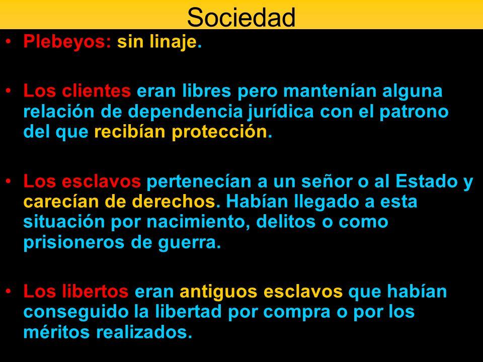 Sociedad Plebeyos: sin linaje. Los clientes eran libres pero mantenían alguna relación de dependencia jurídica con el patrono del que recibían protecc