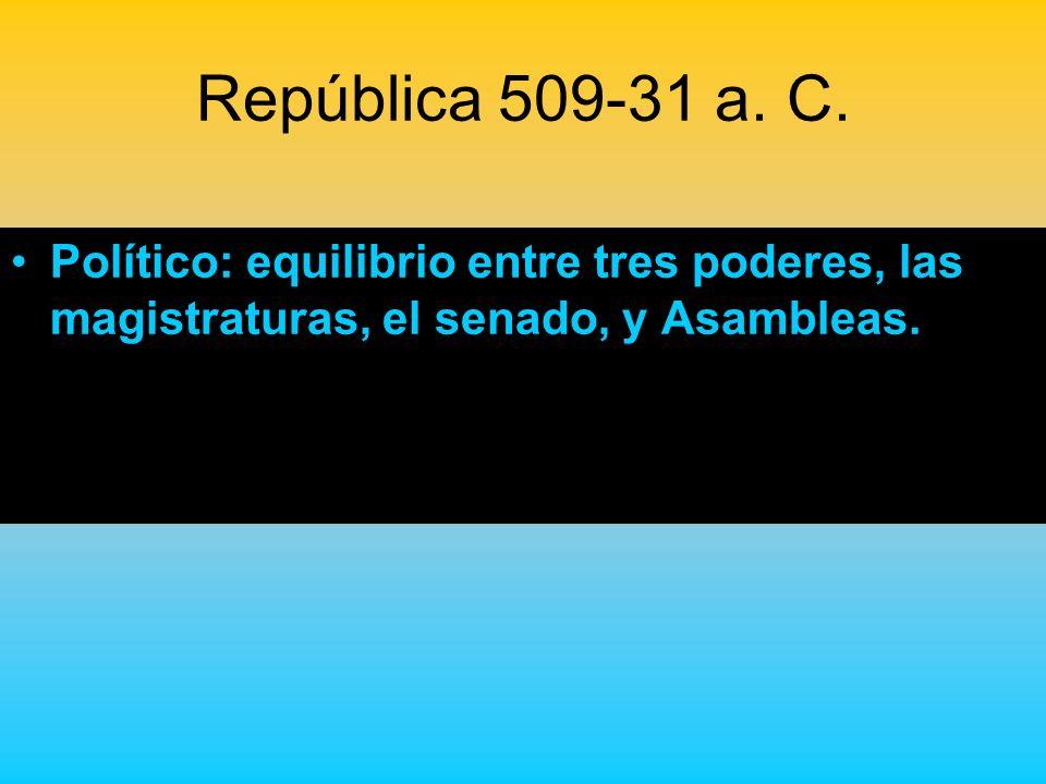 República 509-31 a. C. Político: equilibrio entre tres poderes, las magistraturas, el senado, y Asambleas.