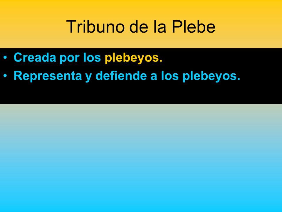 Tribuno de la Plebe Creada por los plebeyos. Representa y defiende a los plebeyos.