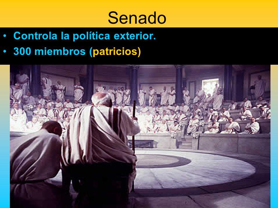 Senado Controla la política exterior. 300 miembros (patricios)