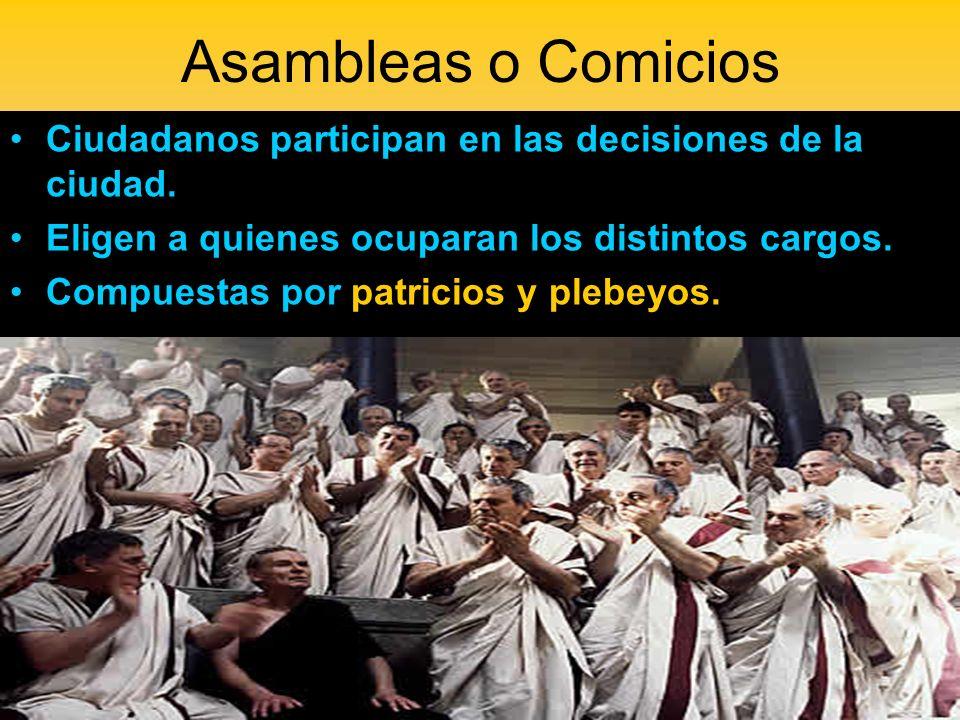 Asambleas o Comicios Ciudadanos participan en las decisiones de la ciudad. Eligen a quienes ocuparan los distintos cargos. Compuestas por patricios y