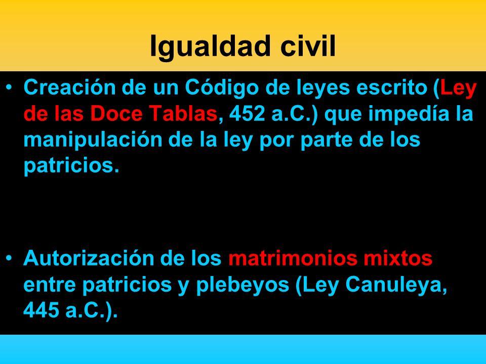 Igualdad civil Creación de un Código de leyes escrito (Ley de las Doce Tablas, 452 a.C.) que impedía la manipulación de la ley por parte de los patric