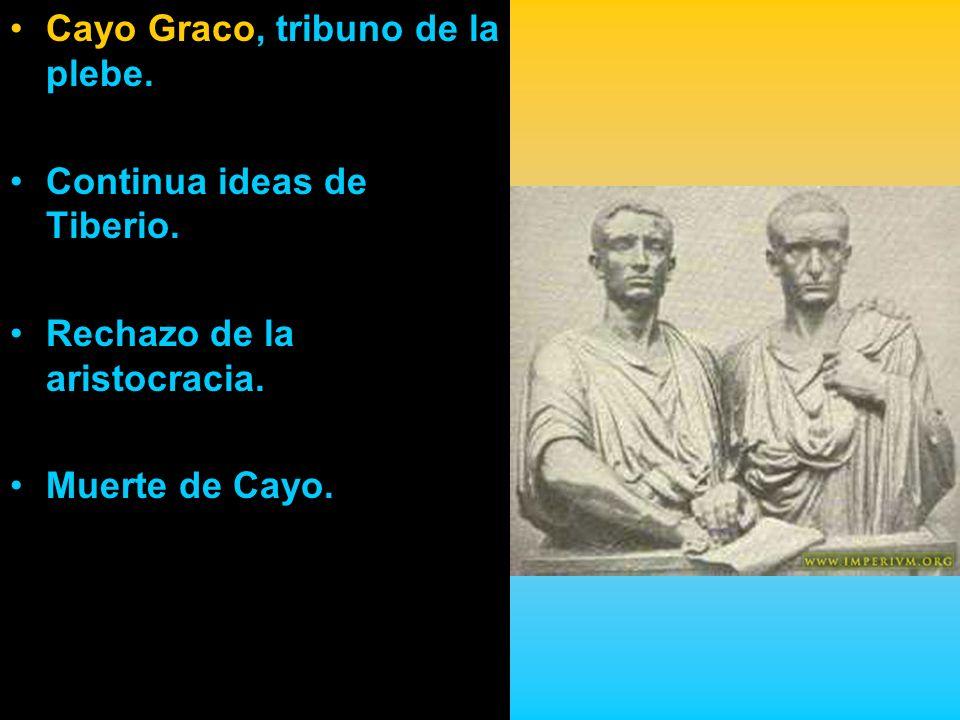 Cayo Graco, tribuno de la plebe. Continua ideas de Tiberio. Rechazo de la aristocracia. Muerte de Cayo.