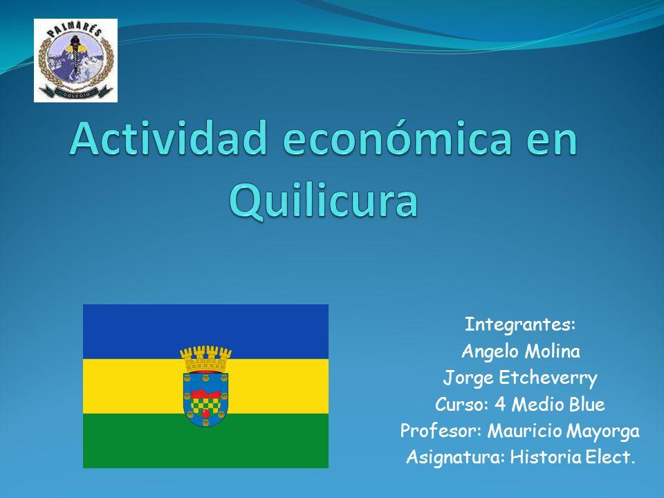 Introducción Con este trabajo queremos dar a conocer parte del desarrollo de la actividad económica en la comuna de Quilicura.