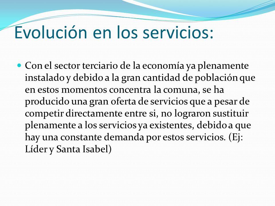 Evolución en los servicios: Con el sector terciario de la economía ya plenamente instalado y debido a la gran cantidad de población que en estos momen