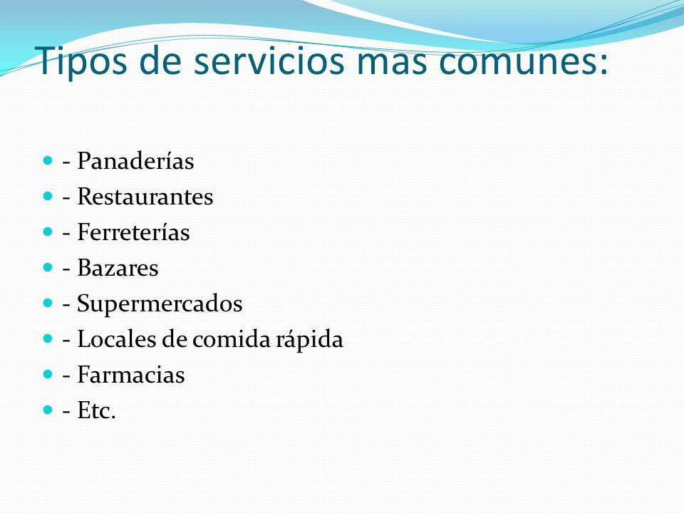 Tipos de servicios mas comunes: - Panaderías - Restaurantes - Ferreterías - Bazares - Supermercados - Locales de comida rápida - Farmacias - Etc.