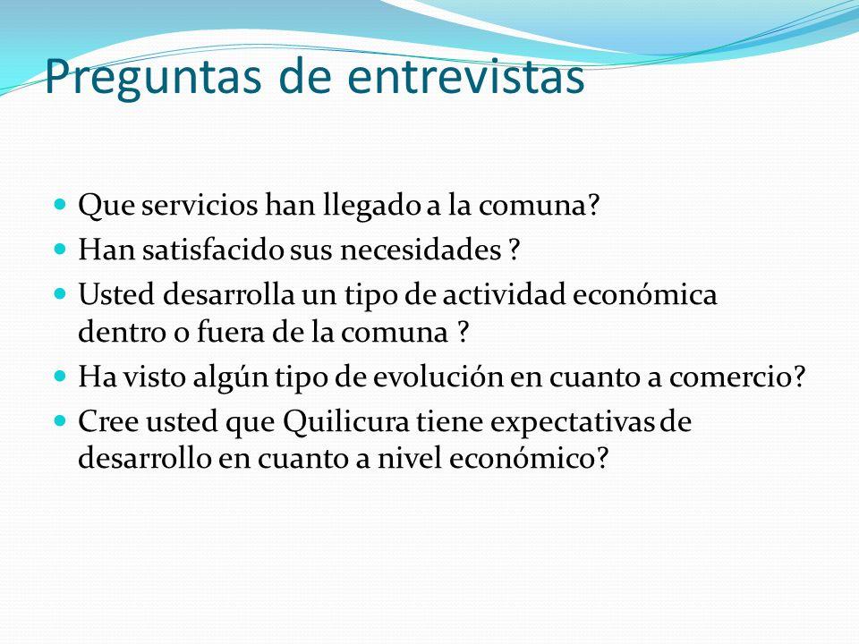 Preguntas de entrevistas Que servicios han llegado a la comuna? Han satisfacido sus necesidades ? Usted desarrolla un tipo de actividad económica dent