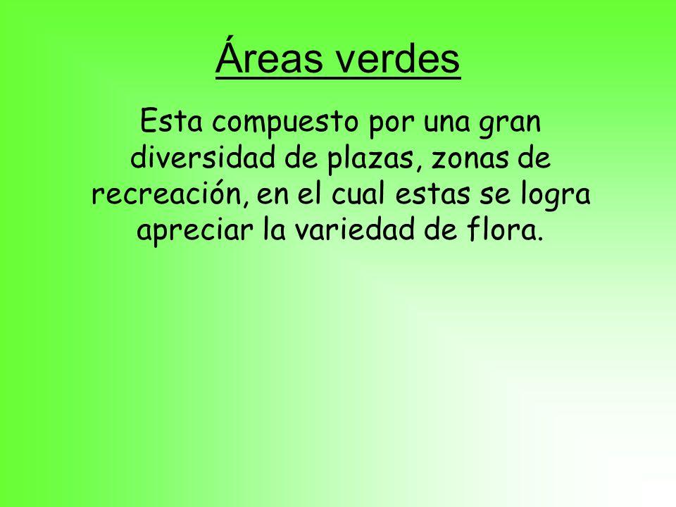 Áreas verdes Esta compuesto por una gran diversidad de plazas, zonas de recreación, en el cual estas se logra apreciar la variedad de flora.