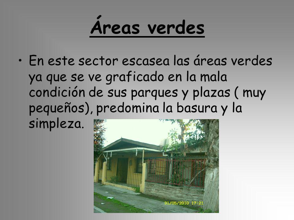 Áreas verdes En este sector escasea las áreas verdes ya que se ve graficado en la mala condición de sus parques y plazas ( muy pequeños), predomina la