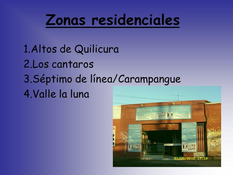 Zonas residenciales 1.Altos de Quilicura 2.Los cantaros 3.Séptimo de línea/Carampangue 4.Valle la luna