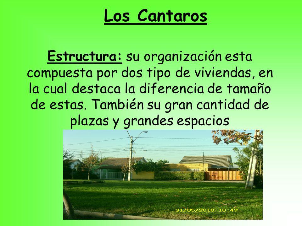 Los Cantaros Estructura: su organización esta compuesta por dos tipo de viviendas, en la cual destaca la diferencia de tamaño de estas. También su gra
