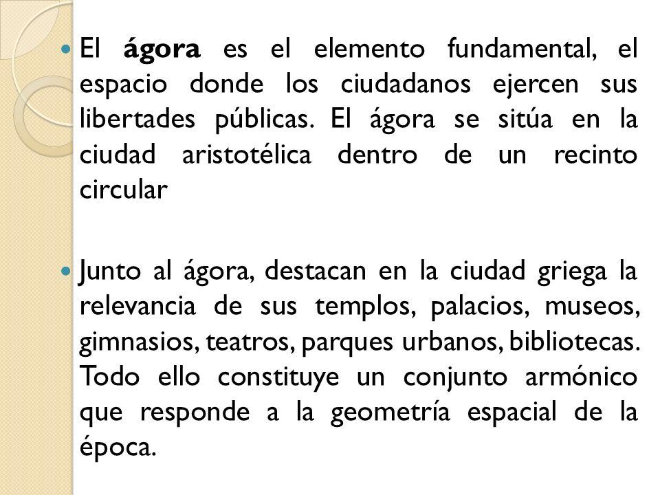 El ágora es el elemento fundamental, el espacio donde los ciudadanos ejercen sus libertades públicas. El ágora se sitúa en la ciudad aristotélica dent