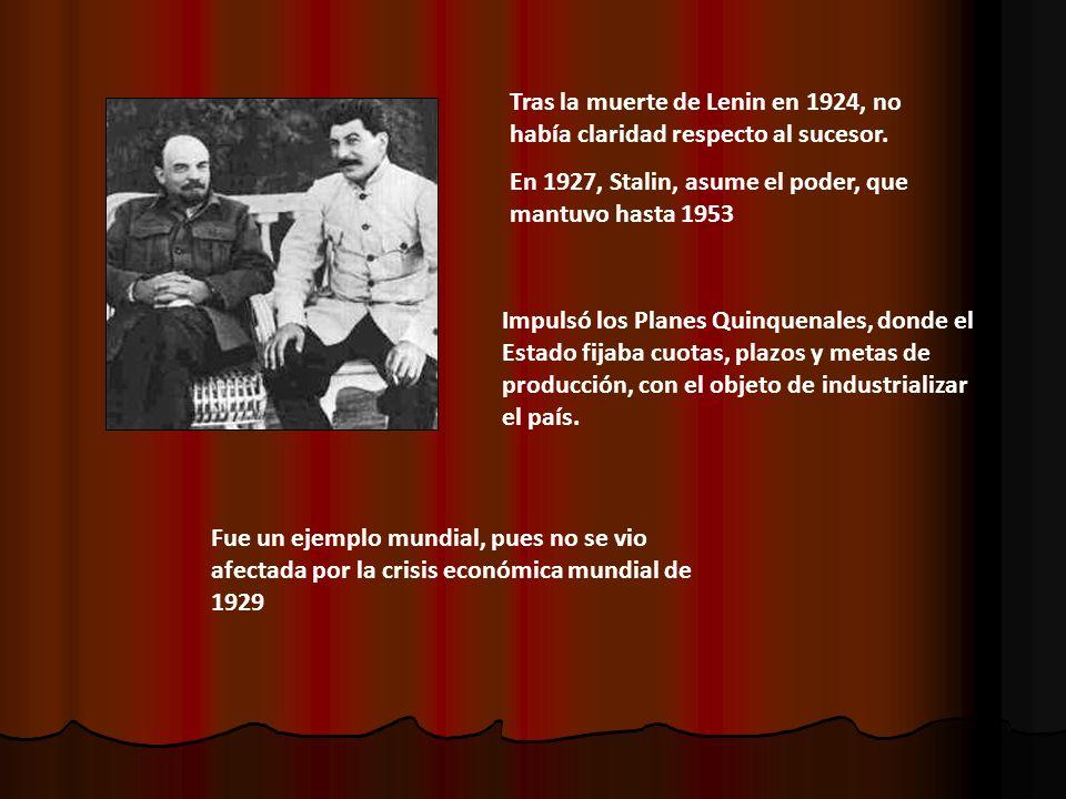 Tras la muerte de Lenin en 1924, no había claridad respecto al sucesor. En 1927, Stalin, asume el poder, que mantuvo hasta 1953 Impulsó los Planes Qui