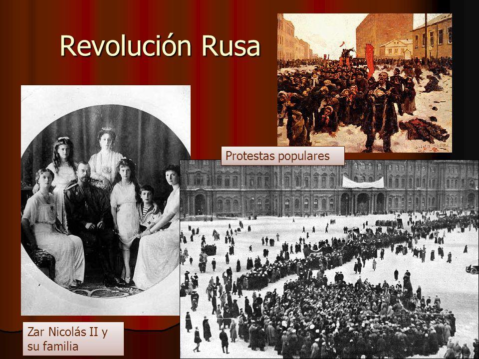 Revolución Rusa Zar Nicolás II y su familia Protestas populares