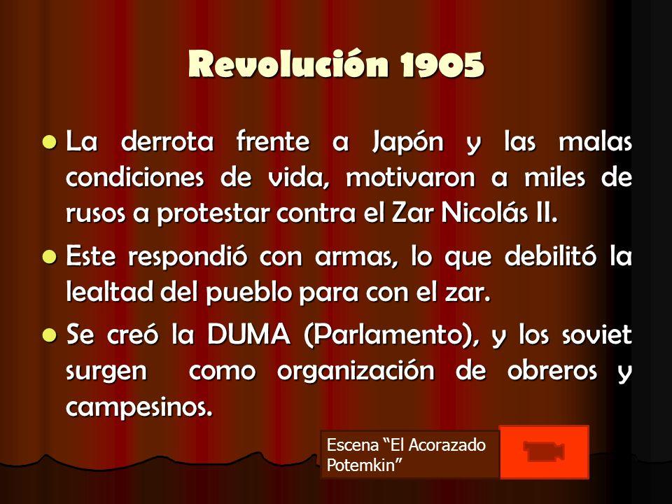 Revolución 1905 La derrota frente a Japón y las malas condiciones de vida, motivaron a miles de rusos a protestar contra el Zar Nicolás II. La derrota