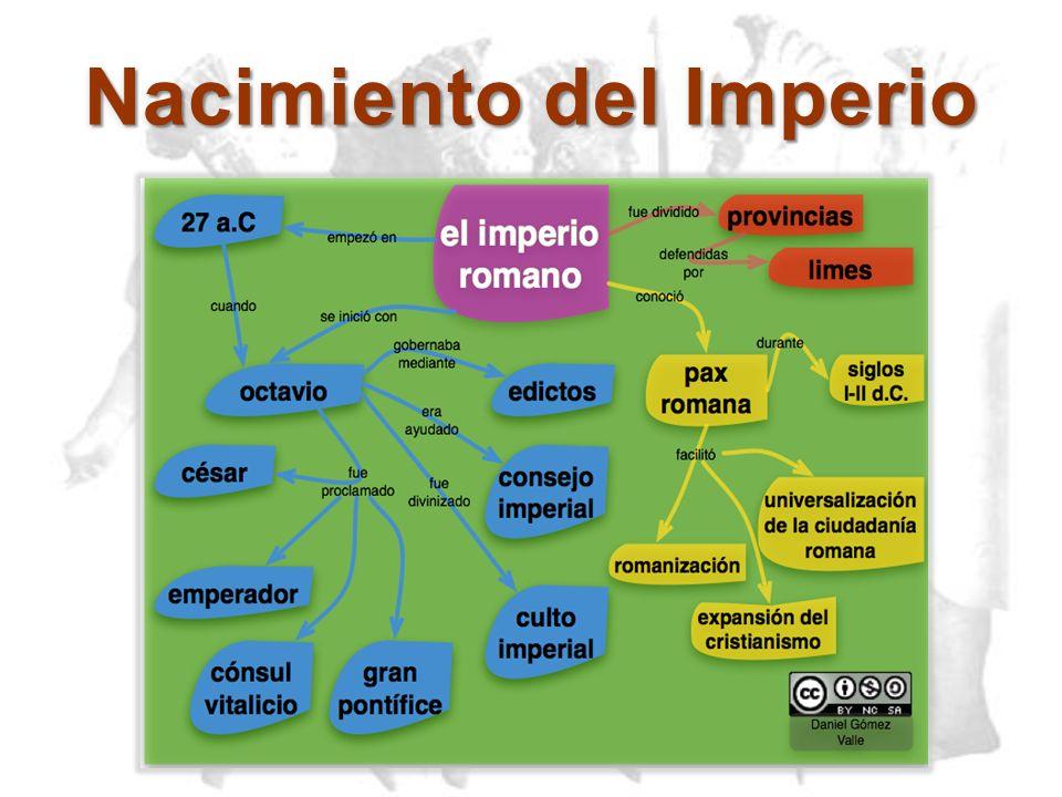 Periodo Imperial Durante la época imperial, las políticas militares estuvieron inclinadas, mas a la constitución y conservación de las fronteras, que