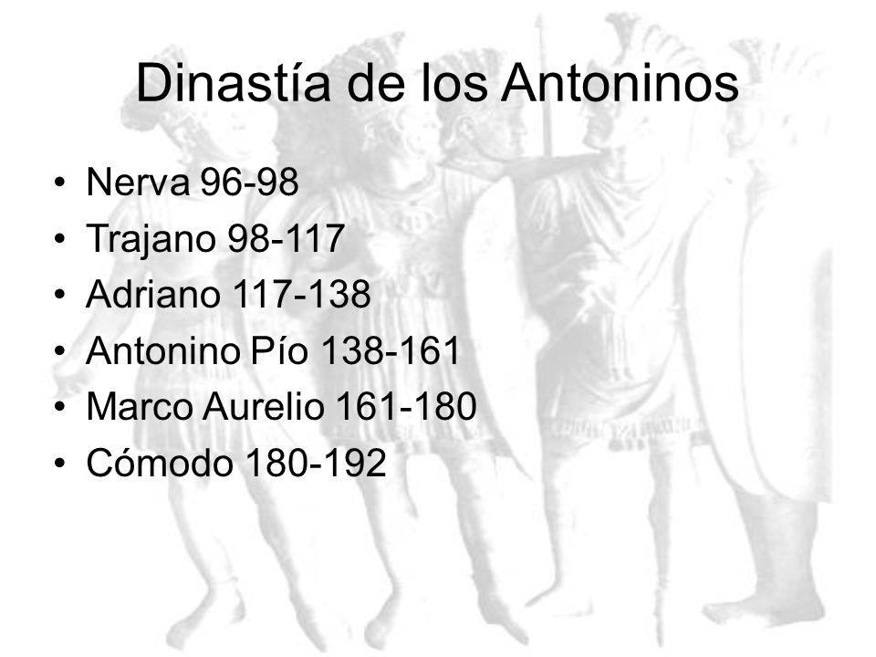 Dinastía Julio-Caudiana Augusto 27a.C-14 d.C. Tiberio 14-37d.C Calígula 37-41 Claudio 45-54 Nerón 54-68 Galba 68-69 Otón 69 Vitelio 69 Vespaciano 69-7