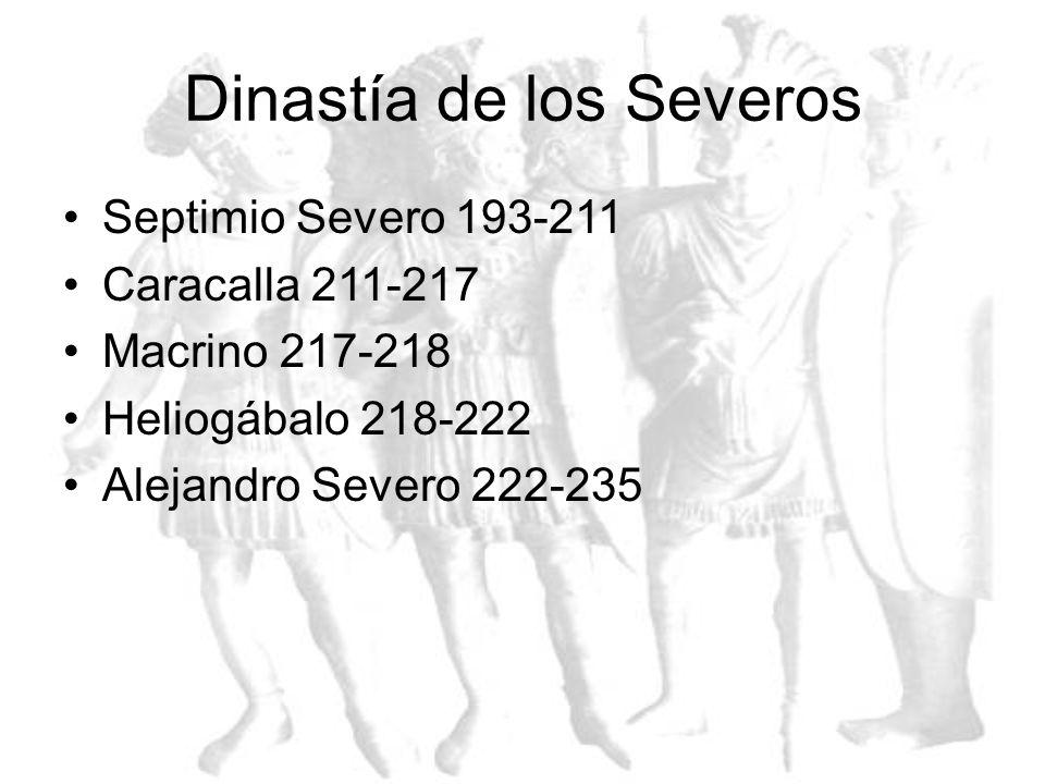 Dinastía de los Antoninos Nerva 96-98 Trajano 98-117 Adriano 117-138 Antonino Pío 138-161 Marco Aurelio 161-180 Cómodo 180-192